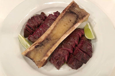 BEEF HEART STEAKS WITH BONE MARROW