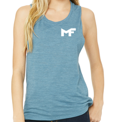 Denim Muscle Tank - Logo White