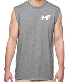 Grey Muscle Tank - Logo White