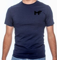 Navy Blue Active T-Shirt - Logo Black