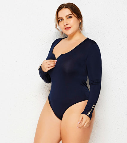 Image of Ladies Plus Size Long Sleeve Zip Front Top