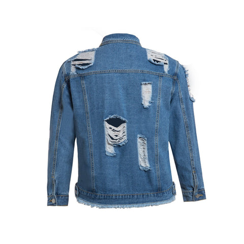 Ladies Plus Size Extreme Rip Denim Jacket