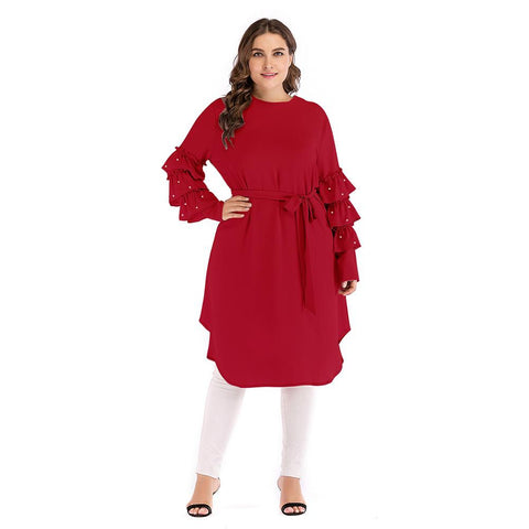Ladies Plus Size Lantern Sleeve Side Tie Front  Dress