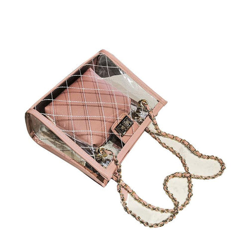 Clear with Nylon Strap Cross Body Bag