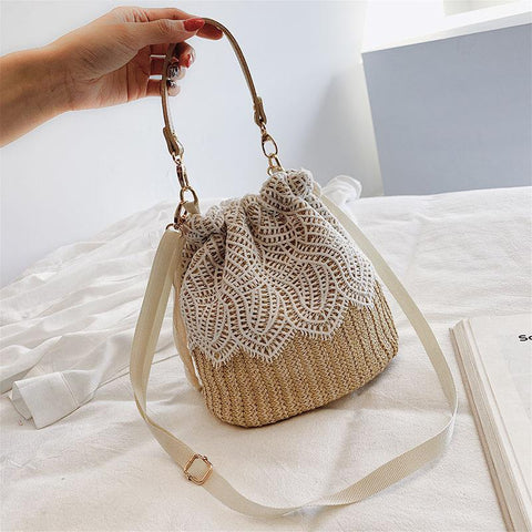Floral Crochet Detail Natural Straw Cross Body Bag