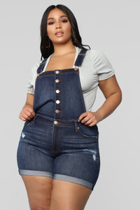 Ladies Plus Size Button Through Short Dungaree