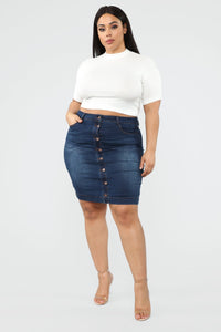 Ladies Plus Size Button Through Denim Skirt
