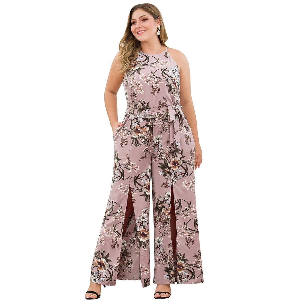 Ladies Plus Size Floral Tie Waist Extreme Split Jumpsuit