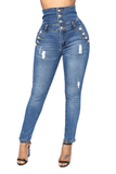 High Waisted Button Through Distressed Skinny Jeans
