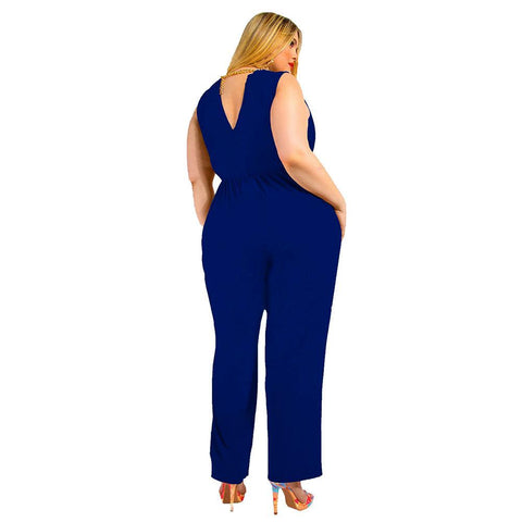 Ladies Plus Size Plain Sleeveless Jumpsuit
