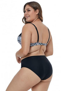 Ladies Plus Size Bikini Set With Printed and Plain Bikini Bottom