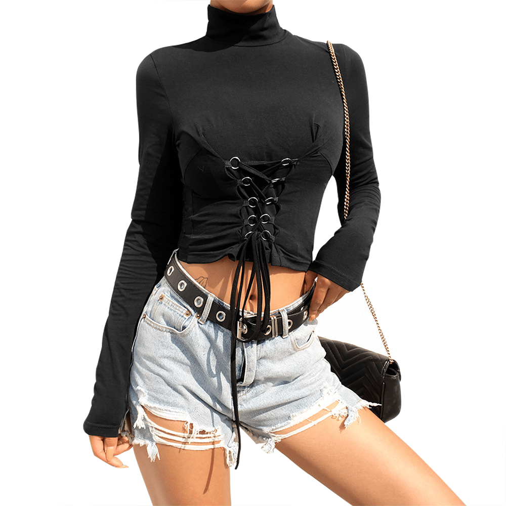 High Neck Long Sleeve Corset Front Crop Top