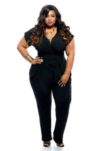Ladies Plus Size Plunge Straight Leg Jumpsuit