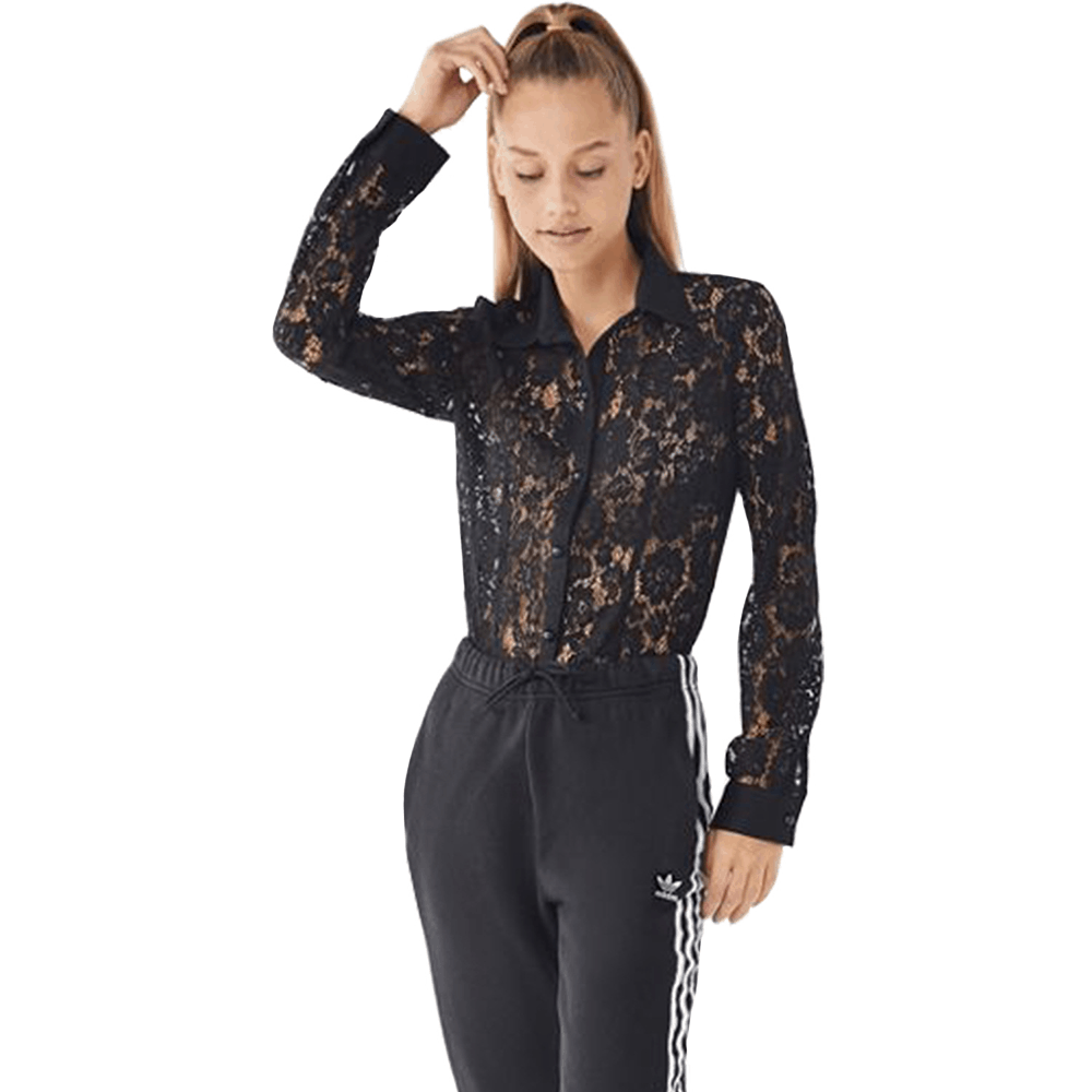 Black Lace Button Through Shirt