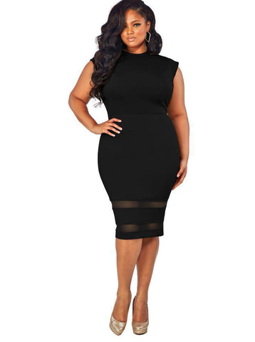 Ladies Plus Size Sleeveless Midi Dresse