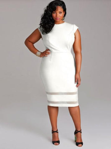 Image of Ladies Plus Size Sleeveless Midi Dresse