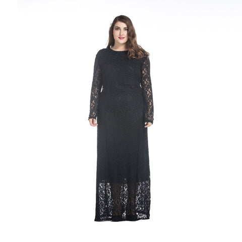 Image of Ladies Plus Size Lace Maxi dress