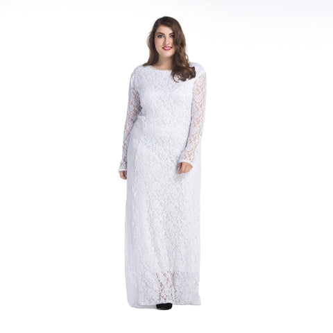 Ladies Plus Size Lace  Detailed Long Sleeved Maxi dress