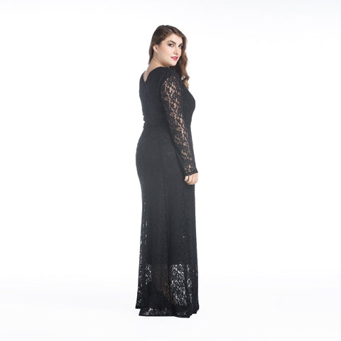 Image of Large size long sleeves openwork lace dress long