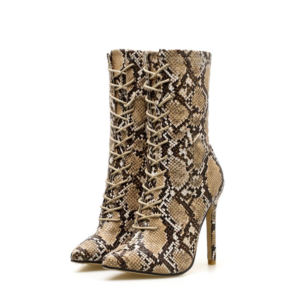 Nude Snake skin print lace up boot