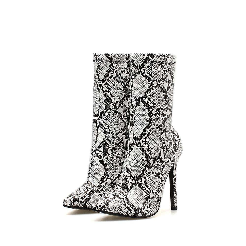 Black and white Snake skin Stiletto heel boot