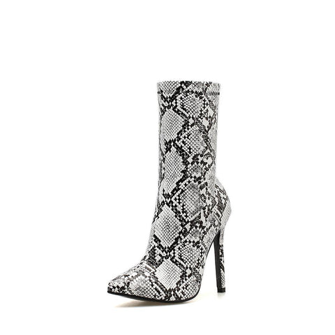 Image of Black and white Snake skin Stiletto heel boot