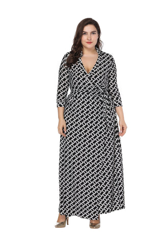 Image of Ladies Plus Size Autumn lapel cropped sleeve wrap dress