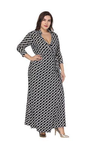 Ladies Plus Size Autumn lapel cropped sleeve wrap dress