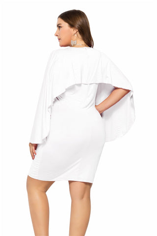 Ladies Plus Size Caped Midi Dress