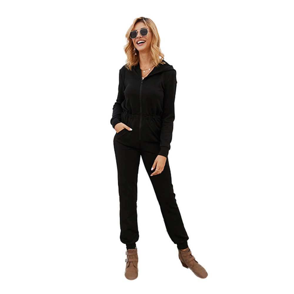 Hooded Ribbed Zip Up Jumpsuit