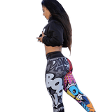 Graffiti Print Active Leggings