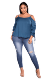 Ladies Plus Size Faded Knee Rip Skinny Jeans