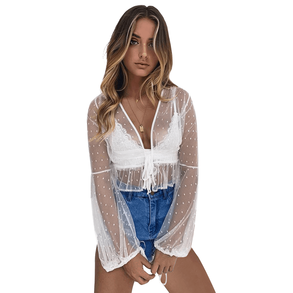 Sheer Bell Sleeve Tie Front Cropped Shirt