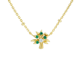 Classic Gold Emerald Green Pendant Necklace