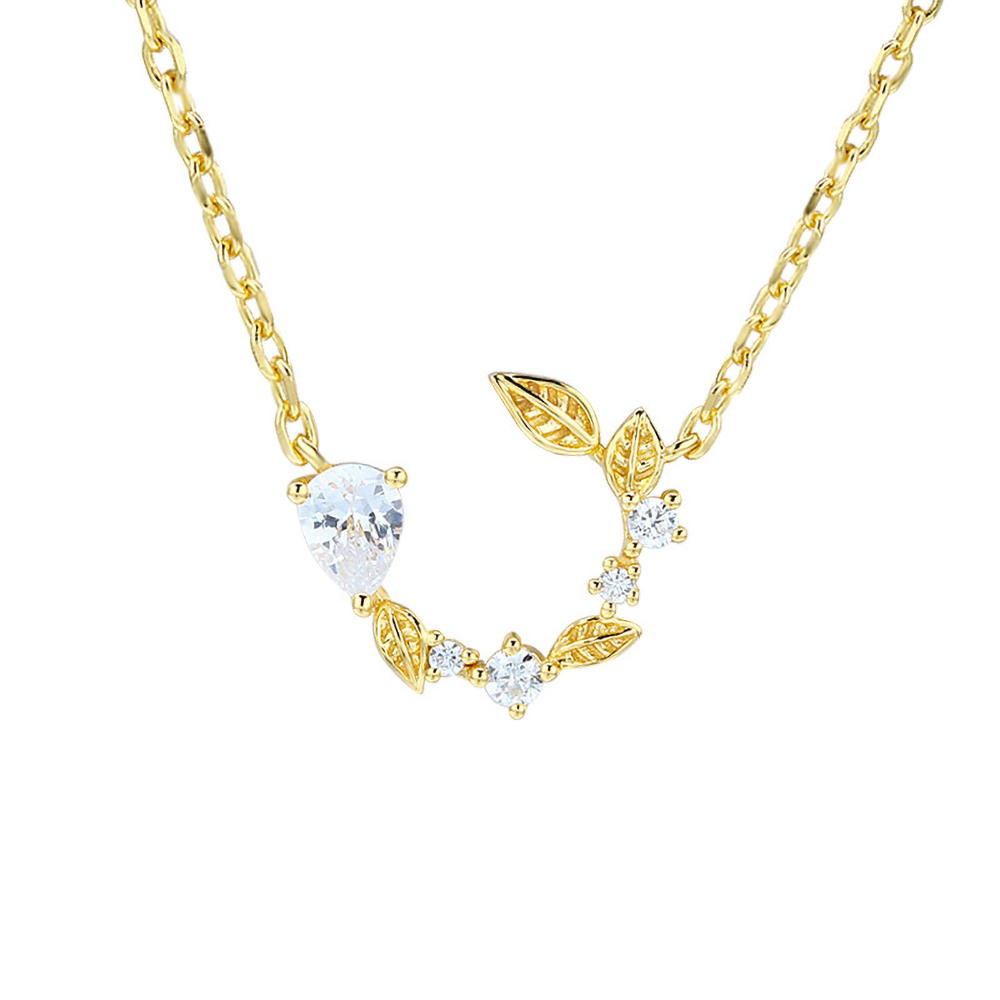 Gold and Diamante Leaf Pendant Necklace