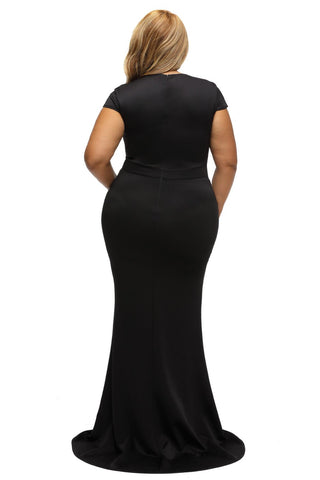 Black Rhinestone Front Bodice Scalloped Neckline Plus Dress
