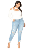 Ladies Plus Size Knee Rip Distressed White Washed  Skinny Jeans