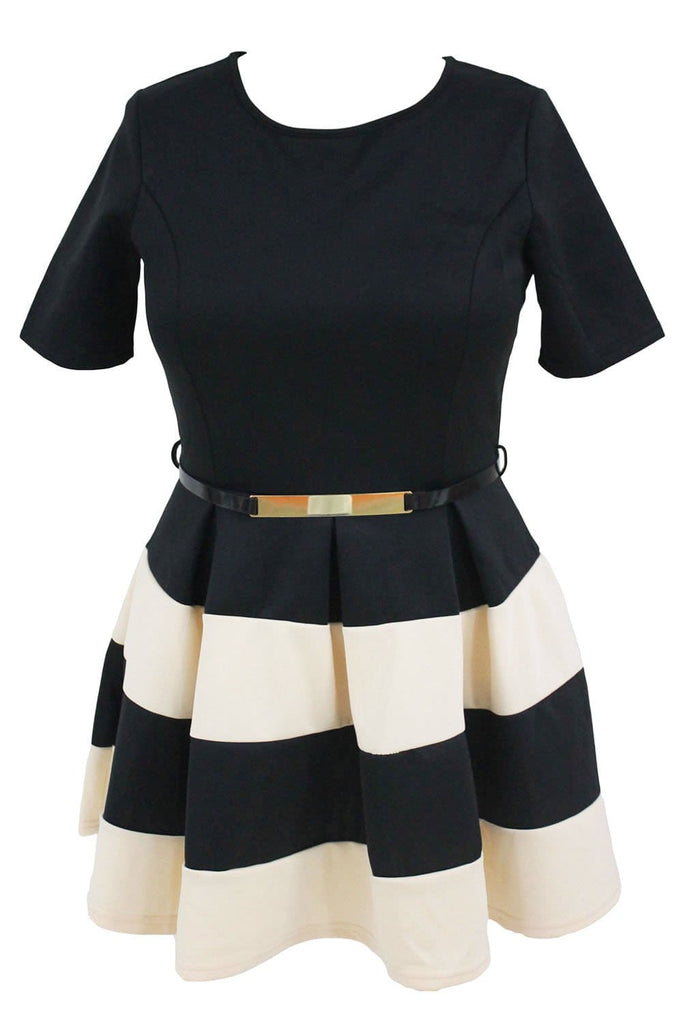 Apricot Stripes Detail Belted Plus Size Skater Dress