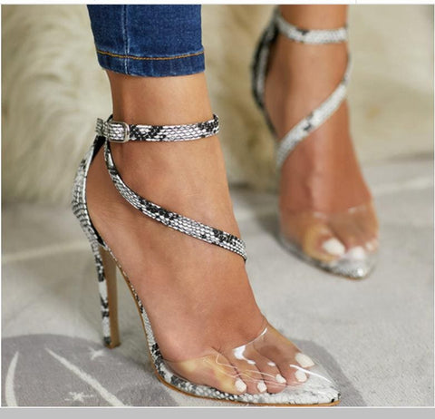 Snake Pattern Transparent Stitching Shoes