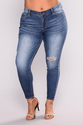 Cross-border large size women's wear new European and American jeans Amazon WISH elastic denim pierced women's leggings