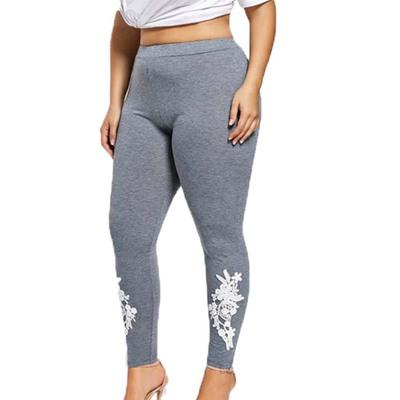 Ladies Plus Size Appliqued Jersey Leggings