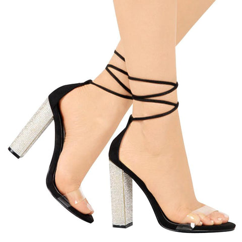 Diamante block heel with clear foot strap