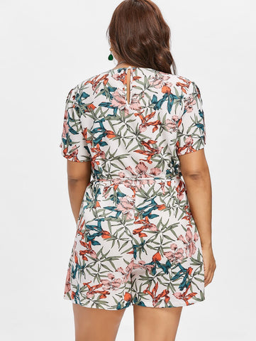 Ladies  Plus Size Floral Print V- neck Jumpsuit