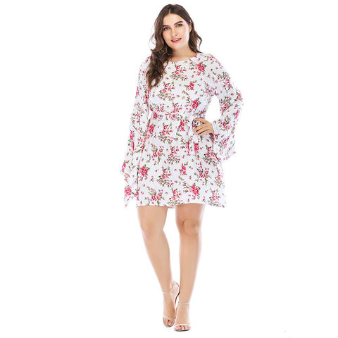 Printed fashion lace long sleeve dress