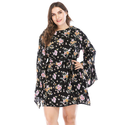 Image of Ladies Plus Size Kimono Sleeve Day Dress
