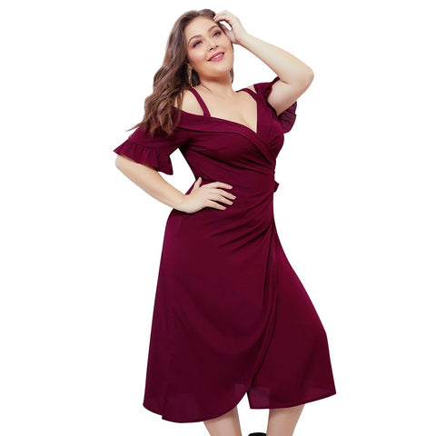 Ladies Plus Size Off-shoulder Stylish Dress