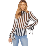 Pin Stripe Sheer Bell Sleeve Shirt