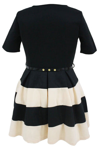 Image of Apricot Stripes Detail Belted Plus Size Skater Dress