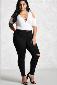 Ladies Plus Size Ripped Jeans with Ankle Zip