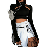 Sporty Long Sleeve Cut Out Crop Top